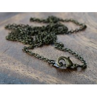 18 Inch Finished Regular Cable Chain, 1.5mm Thick, Antique Brass