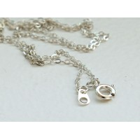 18 Inch Finished Regular Cable Chain, 1.5mm Thick, Silver Tone