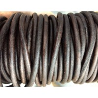 6mm Antique Brown Round Leather Cord, Sold by Yard