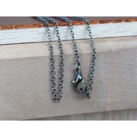 18 Inch Finished Regular Cable Chain, 1.5mm Thick, Gunmetal