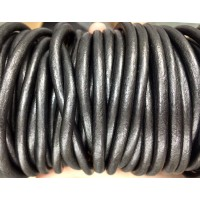 6mm Gunmetal Round Leather Cord, Sold by Yard