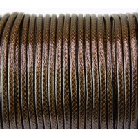 3mm Round Waxed Polyester Cord, Medium Brown, Sold by Yard