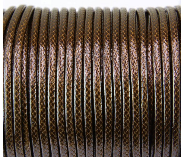 3mm Round Waxed Polyester Cord, Medium Brown