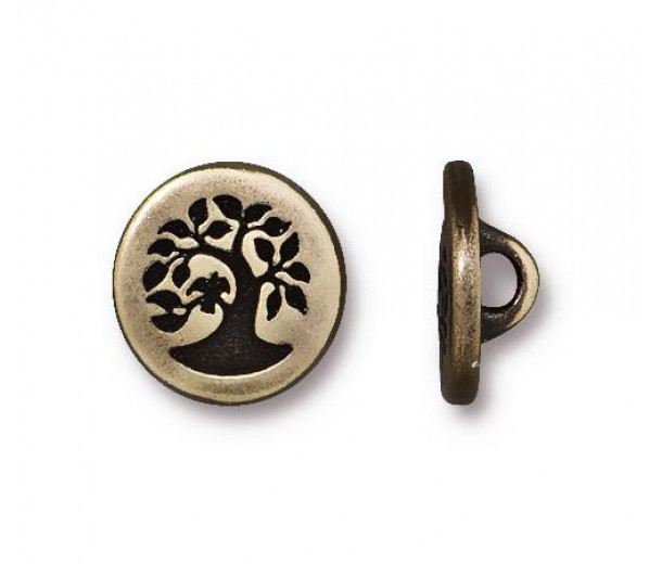 12mm Small Bird in a Tree Button by TierraCast, Antique Brass, 1 Piece