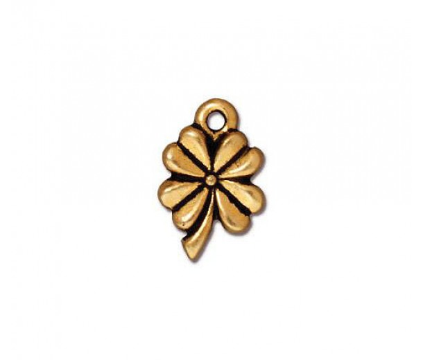 13mm Four Leaf Clover by TierraCast, Antique Gold, 1 Piece