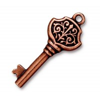 32mm Victorian Key Charm by TierraCast, Antique Copper