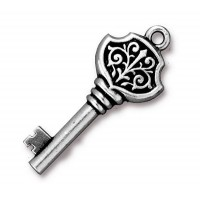 32mm Victorian Key Charm by TierraCast, Antique Silver