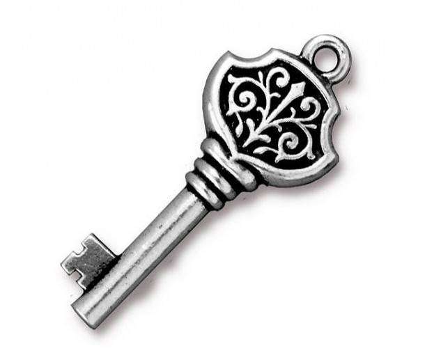 32mm Victorian Key Charm by Tierracast®, Antique Silver