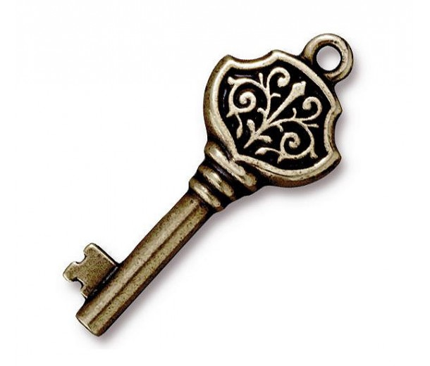 32mm Victorian Key Charm by TierraCast, Antique Brass