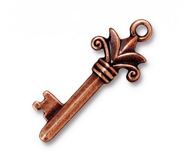 33mm Fleur Key Charm by Tierracast®, Antique Copper