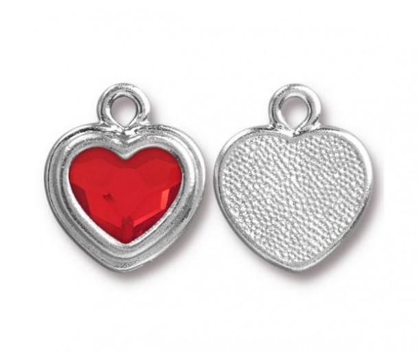 17x15mm Birthstone Heart Charm by TierraCast, Rhodium Plated Light Siam, 1 Piece