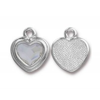 17x15mm Birthstone Heart Charm by TierraCast, Rhodium Plated Crystal