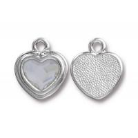 17x15mm Birthstone Heart Charm by TierraCast, Rhodium Plated Crystal, 1 Piece