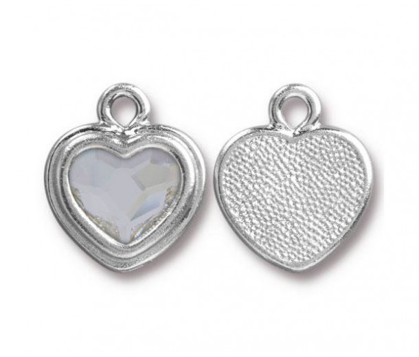 17x15mm Birthstone Heart Charm by TierraCast, Rhodium Plated Crystal, 1 Piece