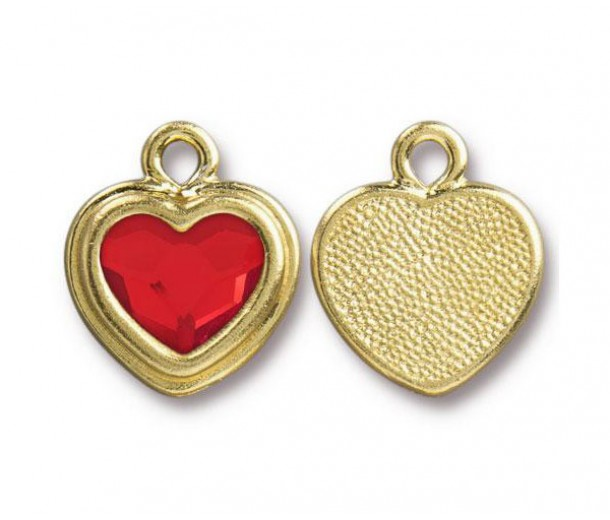 17x15mm Birthstone Heart Charm by TierraCast, Gold Plated Light Siam, 1 Piece