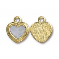 17x15mm Birthstone Heart Charm by TierraCast, Gold Plated Crystal, 1 Piece