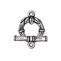 14mm Bamboo Toggle Clasp Set by TierraCast, Antique Silver, 1 Set