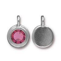 17x12mm Bezel Birthstone Charm by TierraCast, Rhodium Plated Rose, 1 Piece