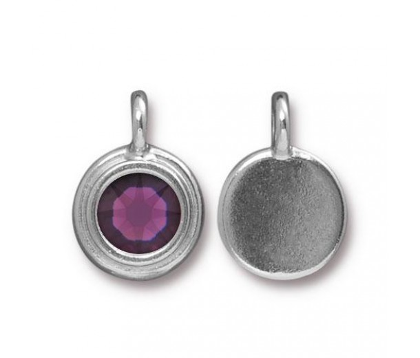 17x12mm Bezel Birthstone Charm by TierraCast, Rhodium Plated Amethyst, 1 Piece