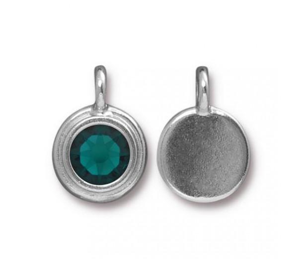 17x12mm Bezel Birthstone Charm by TierraCast, Rhodium Plated Emerald, 1 Piece