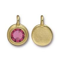 17x12mm Bezel Birthstone Charm by TierraCast, Gold Plated Rose, 1 Piece