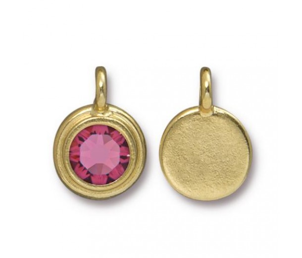 17x12mm Bezel Birthstone Charm by TierraCast, Gold Plated Rose, 1 Piece