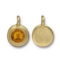 17x12mm Bezel Birthstone Charm by TierraCast, Gold Plated Topaz, 1 Piece