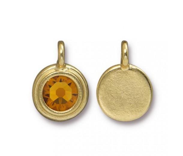17x12mm Bezel Birthstone Charm by TierraCast, Gold Plated Topaz