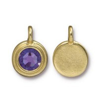 17x12mm Bezel Birthstone Charm by TierraCast, Gold Plated Tanzanite, 1 Piece