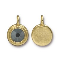 17x12mm Bezel Swarovski Charm by TierraCast, Gold Plated Jet Hematite, 1 Piece