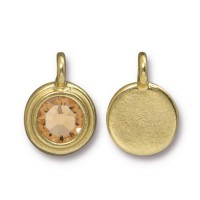 17x12mm Bezel Swarovski Charm by TierraCast, Gold Plated Light Topaz, 1 Piece