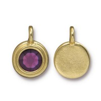 17x12mm Bezel Birthstone Charm by TierraCast, Gold Plated Amethyst, 1 Piece