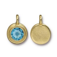 17x12mm Bezel Birthstone Charm by TierraCast, Gold Plated Aquamarine, 1 Piece