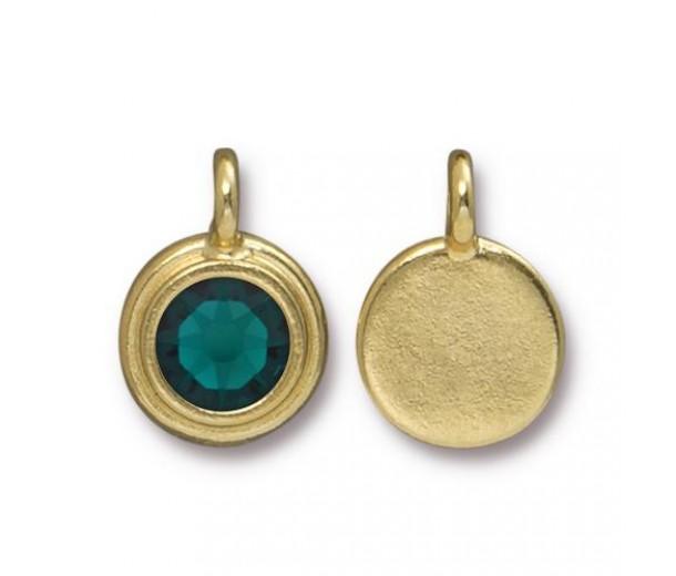 17x12mm Bezel Birthstone Charm by TierraCast, Gold Plated Emerald, 1 Piece