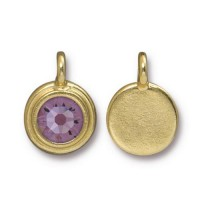 17x12mm Bezel Birthstone Charm by TierraCast, Gold Plated Light Amethyst, 1 Piece
