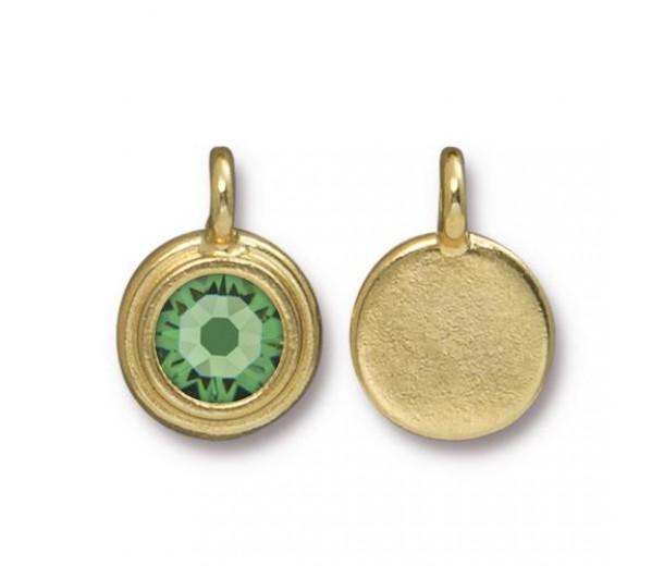 17x12mm Bezel Birthstone Charm by TierraCast, Gold Plated Peridot
