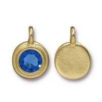 17x12mm Bezel Birthstone Charm by TierraCast, Gold Plated Sapphire, 1 Piece