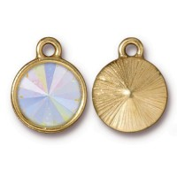 18x14mm Rivoli Swarovski® Charm by TierraCast, Gold Plated Crystal AB