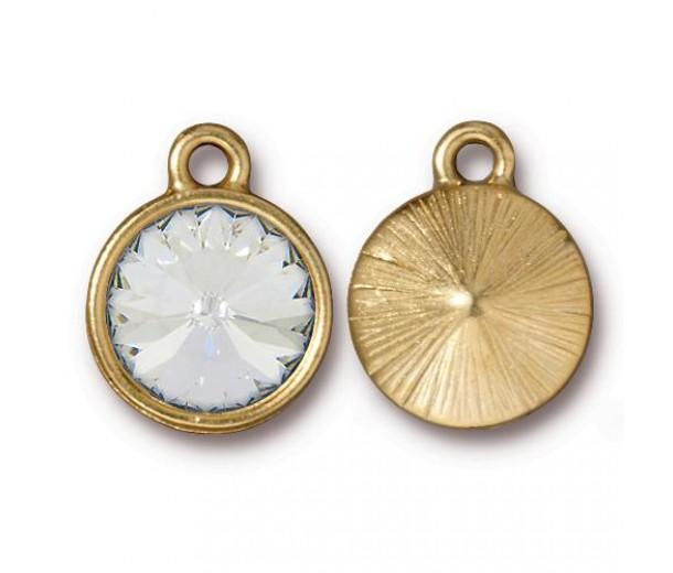 18x14mm Rivoli Birthstone Charm by TierraCast, Gold Plated Crystal