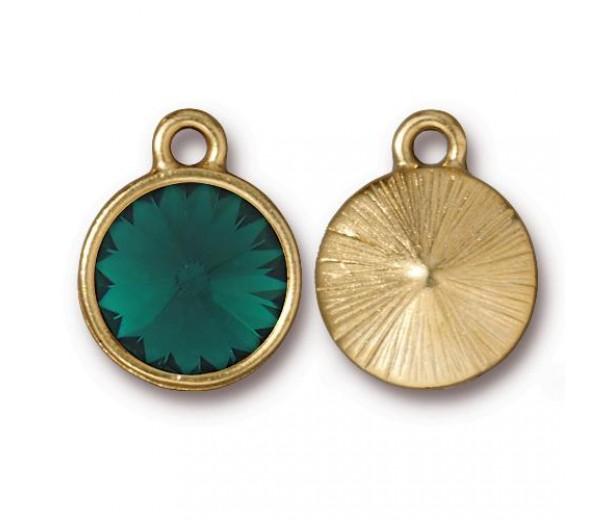 18x14mm Rivoli Birthstone Charm by Tierracast®, Gold Plated Emerald