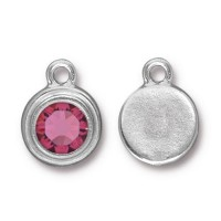 17x12mm Birthstone Drop Charm by TierraCast, Rhodium Plated Rose