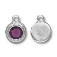 17x12mm Birthstone Drop Charm by TierraCast, Rhodium Plated Amethyst