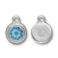 17x12mm Birthstone Drop Charm by TierraCast, Rhodium Plated Aquamarine