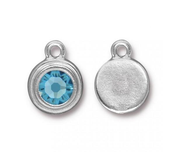 17x12mm Birthstone Drop Charm by TierraCast, Rhodium Plated Aquamarine