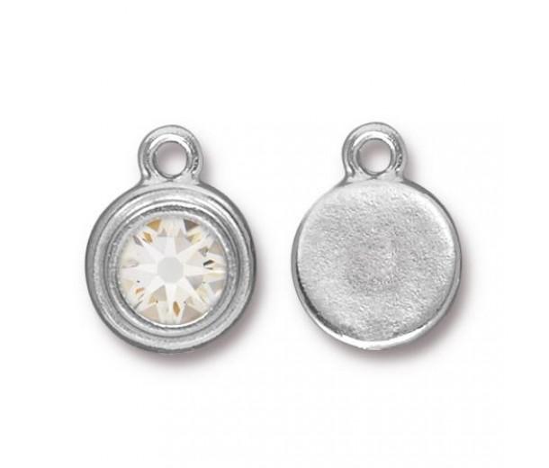 17x12mm Birthstone Drop Charm by TierraCast, Rhodium Plated Crystal