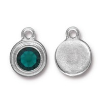 17x12mm Birthstone Drop Charm by TierraCast, Rhodium Plated Emerald