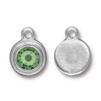 17x12mm Birthstone Drop Charm by TierraCast, Rhodium Plated Peridot