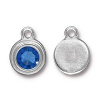 17x12mm Birthstone Drop Charm by TierraCast, Rhodium Plated Sapphire