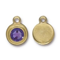 17x12mm Birthstone Drop by TierraCast, Gold Plated Tanzanite