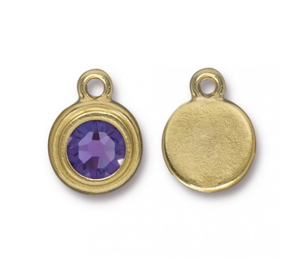 17x12mm Birthstone Drop Charm by TierraCast, Gold Plated Tanzanite